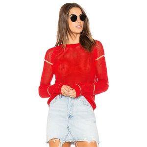 Michael Stars   Mesh Pullover Sweater in Poppy